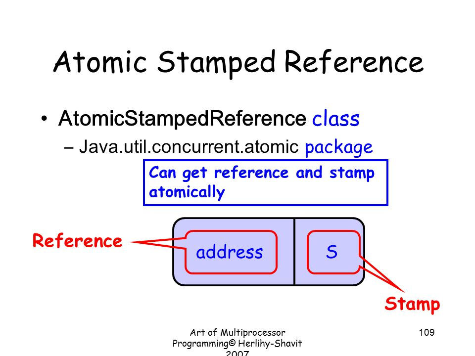 Art of Multiprocessor Programming© Herlihy-Shavit 2007 109 Atomic Stamped Reference AtomicStampedReference class –Java.util.concurrent.atomic package address S Stamp Reference Can get reference and stamp atomically