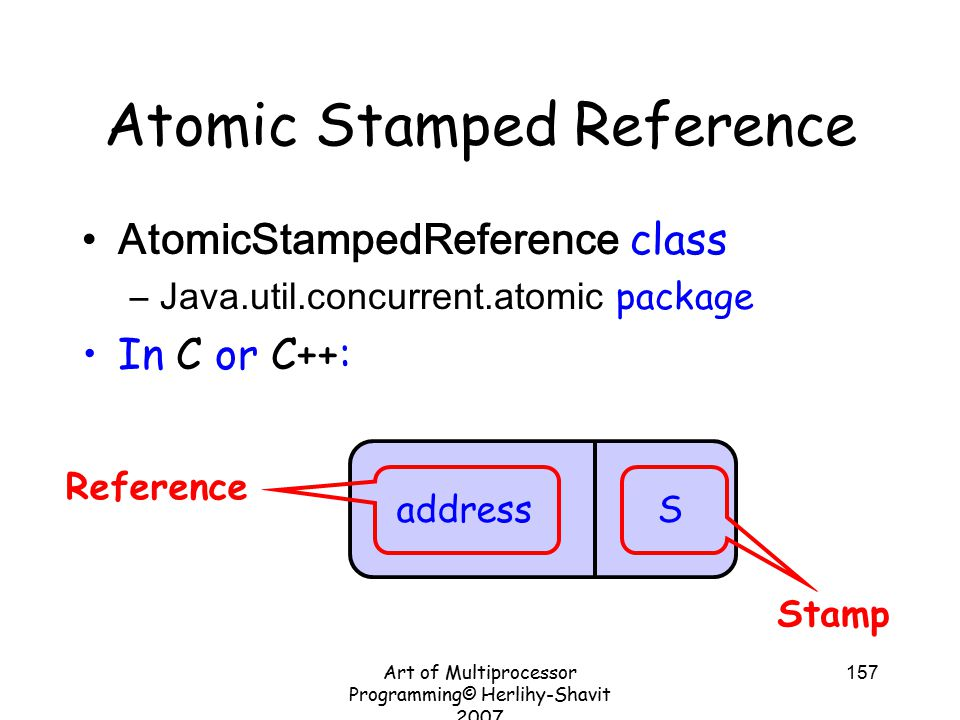 Art of Multiprocessor Programming© Herlihy-Shavit 2007 157 Atomic Stamped Reference AtomicStampedReference class –Java.util.concurrent.atomic package In C or C++: address S Stamp Reference