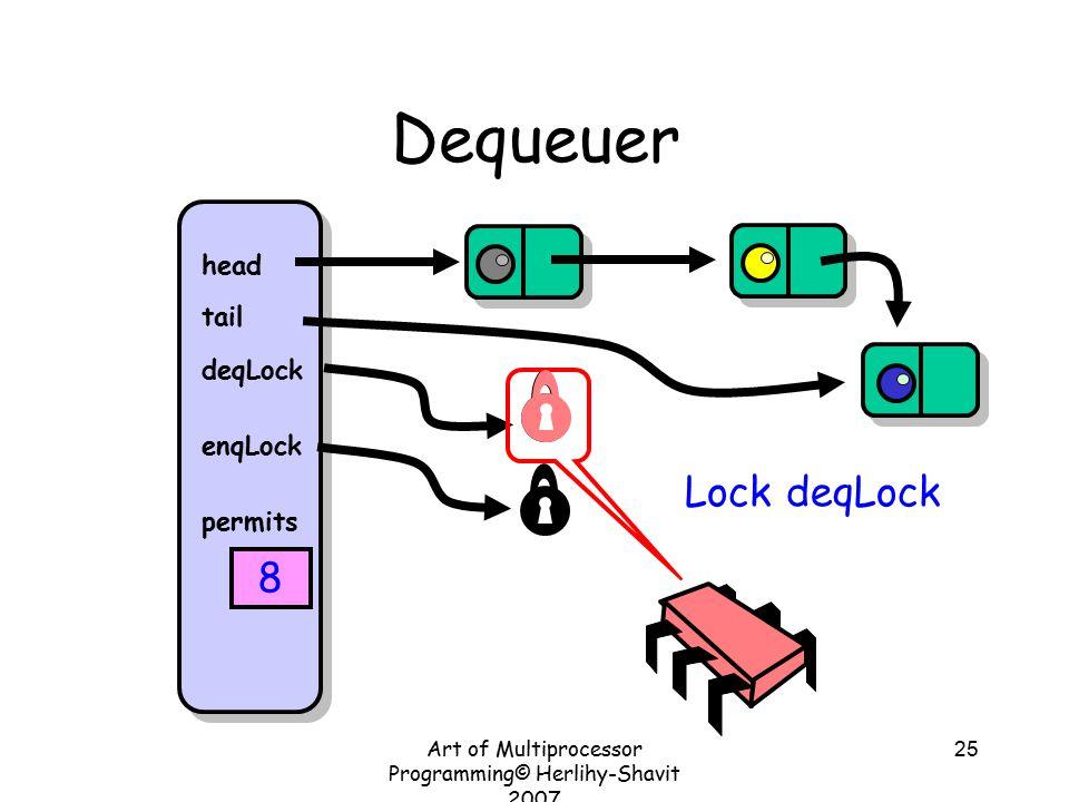 Art of Multiprocessor Programming© Herlihy-Shavit 2007 25 Dequeuer head tail deqLock enqLock permits 8 Lock deqLock