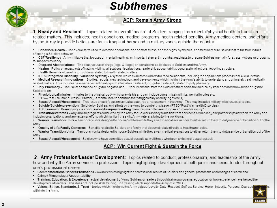 3 Subthemes ACP: Prepare for Tomorrow 3.Army of 2020 and Beyond: Topics highlighting 'strategy' and plans for where the Army is going, what its force will look like, and changes to its organizational structure.