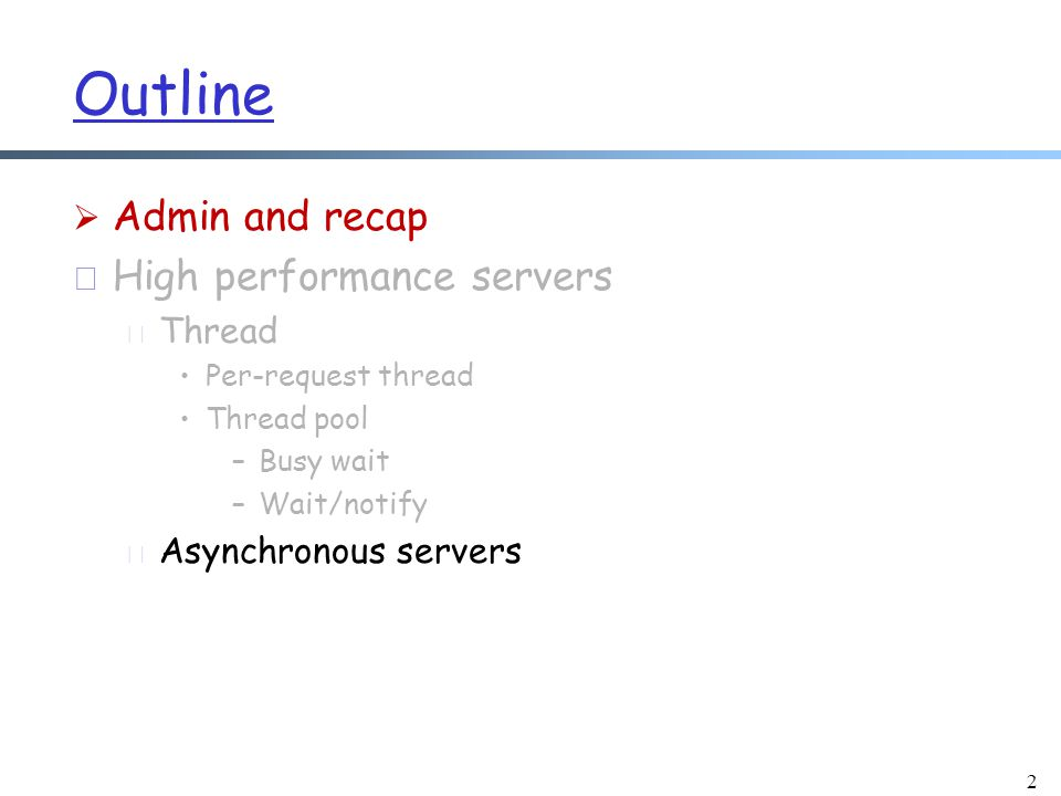 Problems of Async Echo Server v1  Empty write: Callback to handleWrite() is unnecessary when nothing to write m Imagine empty write with 10,000 sockets m Solution: initially read only, later allow write  handleRead() still reads after the client closes r Solution: after reading end of stream, deregister read interest for the channel 53