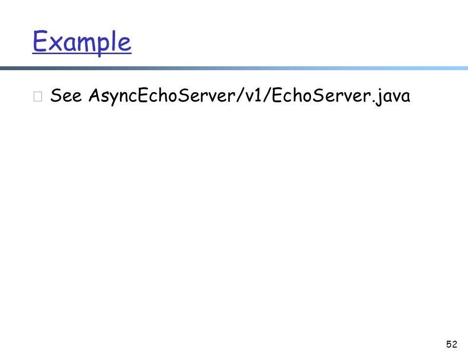 Example r See AsyncEchoServer/v1/EchoServer.java 52