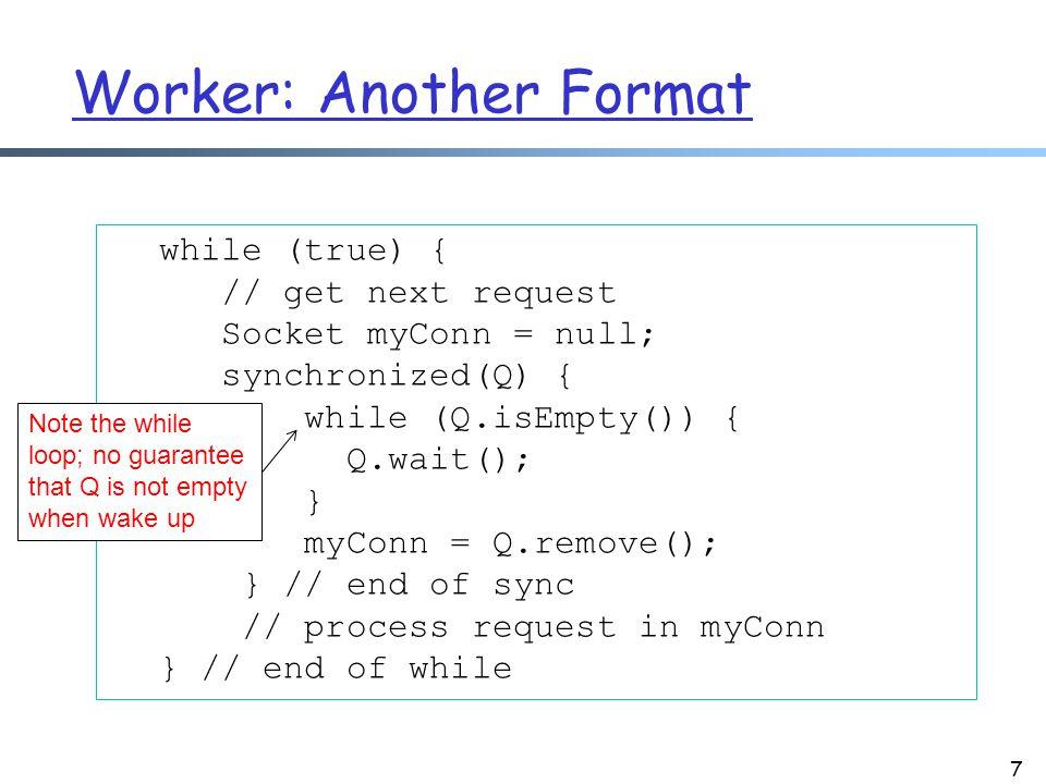Summary: Guardian via Suspension: Waiting 8 synchronized (obj) { while (!condition) { try { obj.wait(); } catch (InterruptedException ex) {...