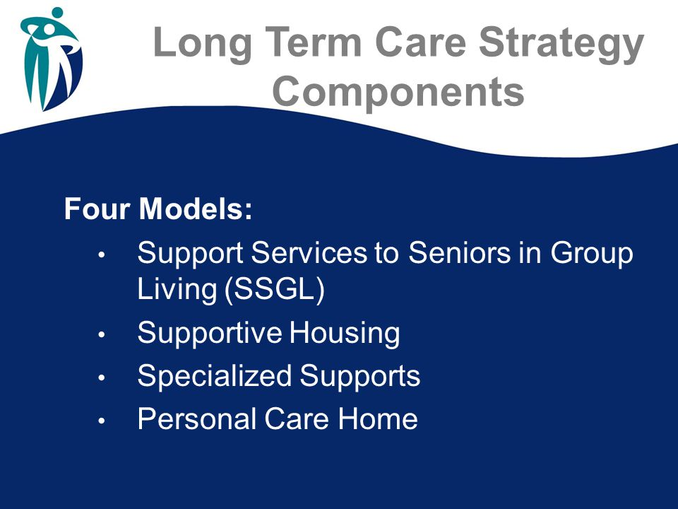 Long Term Care Strategy Components Four Models: Support Services to Seniors in Group Living (SSGL) Supportive Housing Specialized Supports Personal Care Home