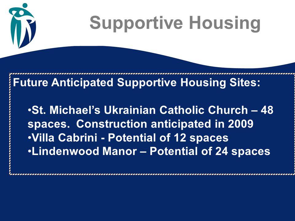 Future Anticipated Supportive Housing Sites: St. Michael's Ukrainian Catholic Church – 48 spaces. Construction anticipated in 2009 Villa Cabrini - Pot