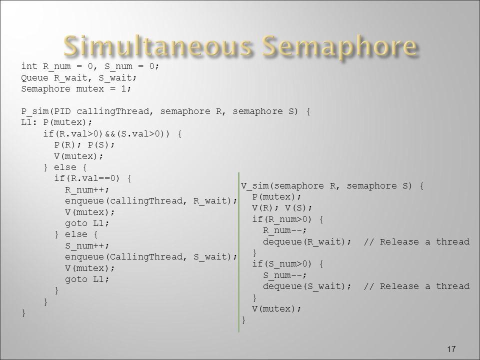 17 int R_num = 0, S_num = 0; Queue R_wait, S_wait; Semaphore mutex = 1; P_sim(PID callingThread, semaphore R, semaphore S) { L1: P(mutex); if(R.val>0)&&(S.val>0)) { P(R); P(S); V(mutex); } else { if(R.val==0) { R_num++; enqueue(callingThread, R_wait); V(mutex); goto L1; } else { S_num++; enqueue(CallingThread, S_wait); V(mutex); goto L1; } V_sim(semaphore R, semaphore S) { P(mutex); V(R); V(S); if(R_num>0) { R_num--; dequeue(R_wait); // Release a thread } if(S_num>0) { S_num--; dequeue(S_wait); // Release a thread } V(mutex); }