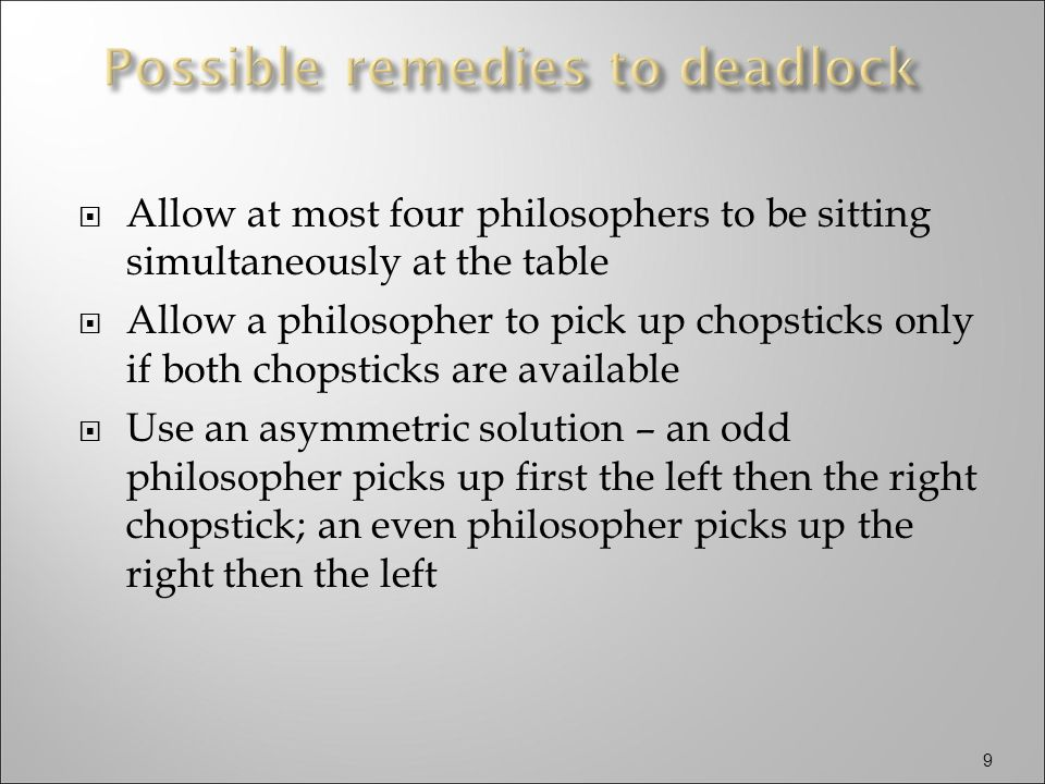 20 Dining Philosophers Problem philosopher(int i) { while(TRUE) { // Think // Eat P simultaneous (fork[i], fork [(i+1) mod 5]); eat(); V simultaneous (fork[i], fork [(i+1) mod 5]); } semaphore fork[5] = (1,1,1,1,1); fork(philosopher, 1, 0); fork(philosopher, 1, 1); fork(philosopher, 1, 2); fork(philosopher, 1, 3); fork(philosopher, 1, 4);