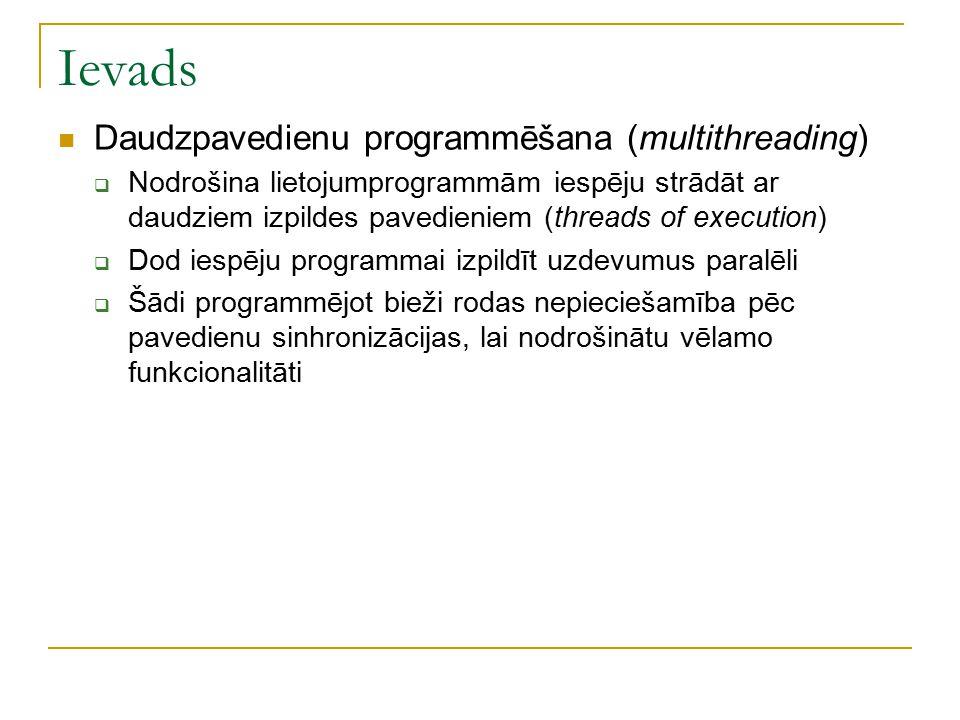 Ievads Daudzpavedienu programmēšana (multithreading)  Nodrošina lietojumprogrammām iespēju strādāt ar daudziem izpildes pavedieniem (threads of execu