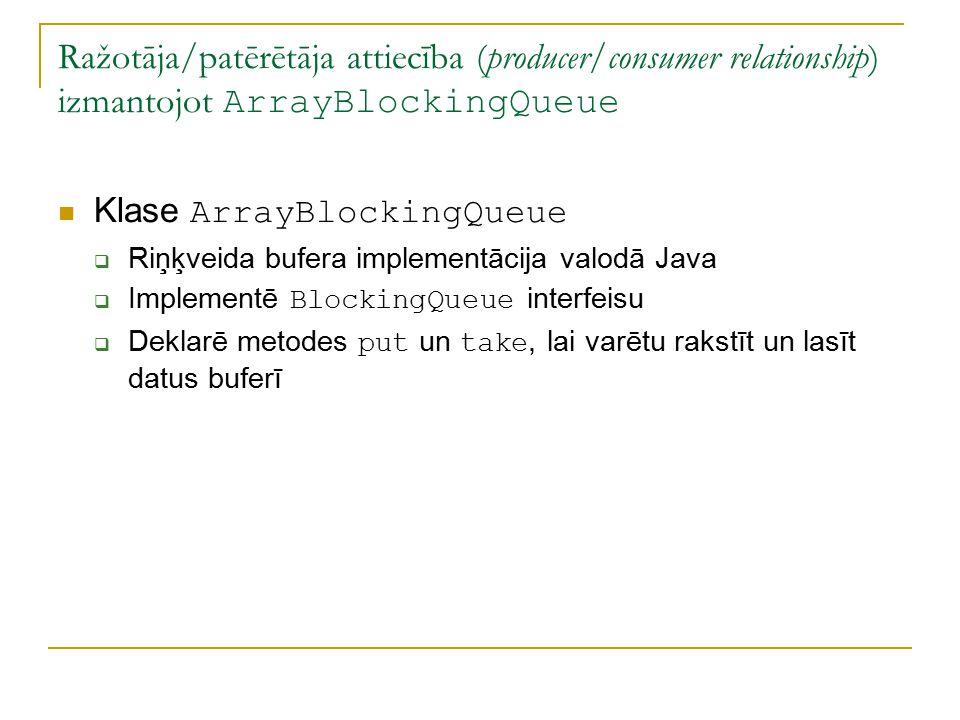 Ražotāja/patērētāja attiecība (producer/consumer relationship) izmantojot ArrayBlockingQueue Klase ArrayBlockingQueue  Riņķveida bufera implementācija valodā Java  Implementē BlockingQueue interfeisu  Deklarē metodes put un take, lai varētu rakstīt un lasīt datus buferī