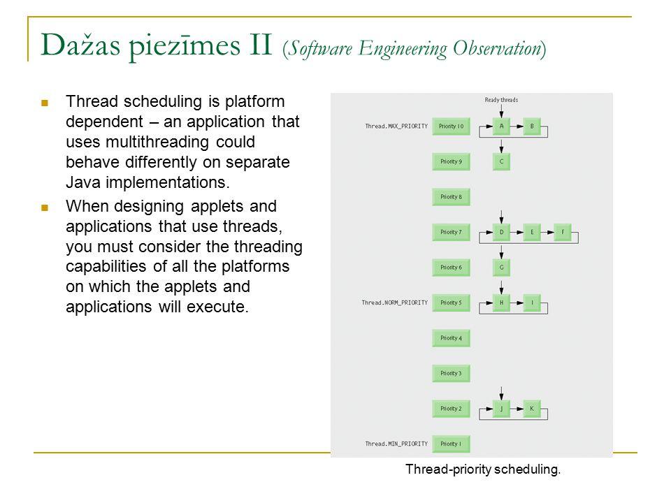 Pavedienu izveidošana un izpilde Runnable interfeiss  Izmanto, lai veidotu daudzpavedienu lietojumprogrammas  Deklarē run metodi  Izpilda objekts kurš implementē Executor interfeisu Executor interfeiss  Deklarē execute metodi  Izveido un pārvalda pavedienu grupu – tiek saukta par thread pool ExecutorService interfeiss  Executor apakšinterfeiss kurā ir deklarētas citas metodes, kuras pārvalda Executor dzīves ciklu  Objektus var radīt izmantojot atbilstošās klases Executors static metodes  Metode shutdown pabeidz pavedienus ja uzdevumi ir pabeigti Executors klase  Metode newFixedThreadPool izveido thread pool no fiksēta skaita pavedieniem  Metode newCachedThreadPool izveido thread pool, kurš rada jaunus pavedienus pēc vajadzības
