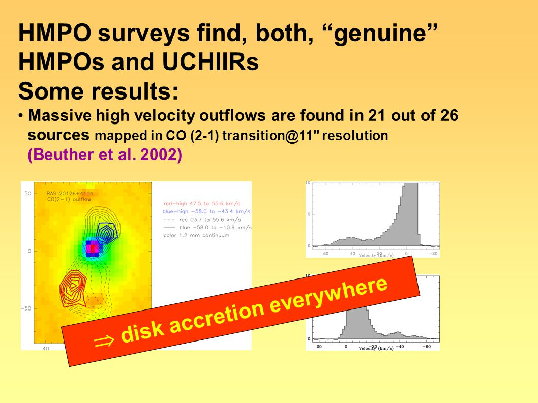 "HMPO surveys find, both, ""genuine"" HMPOs and UCHIIRs Some results: Massive high velocity outflows are found in 21 out of 26 sources mapped in CO (2-1)"