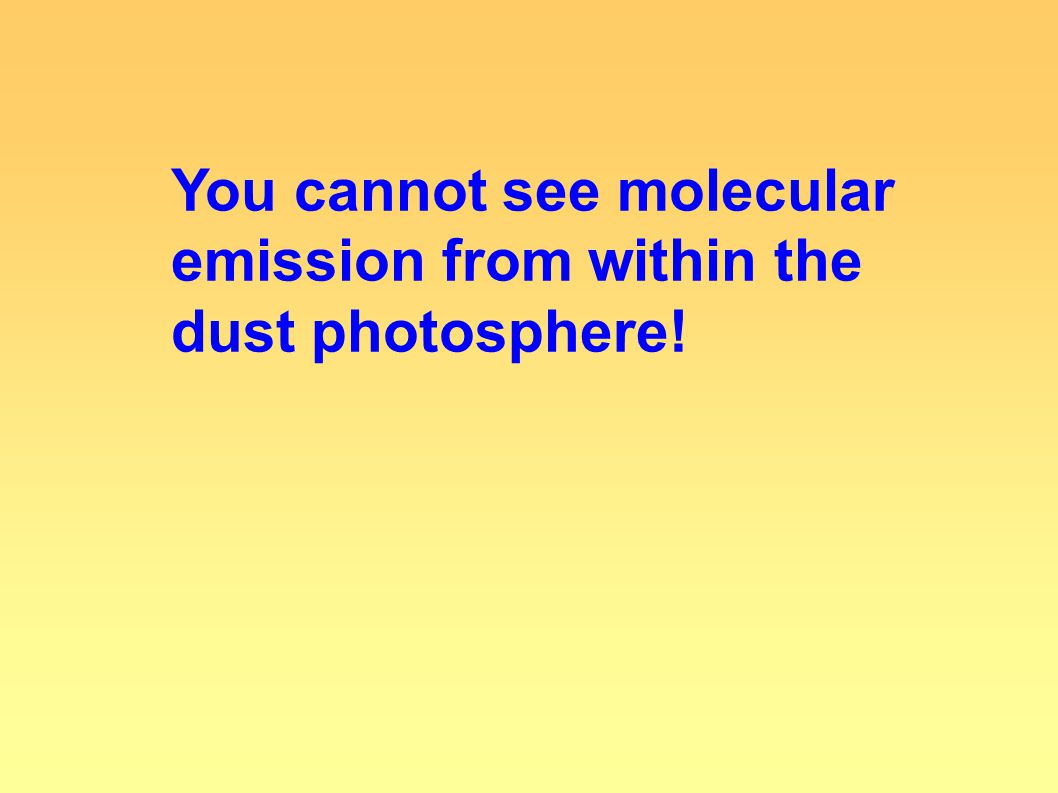 You cannot see molecular emission from within the dust photosphere!
