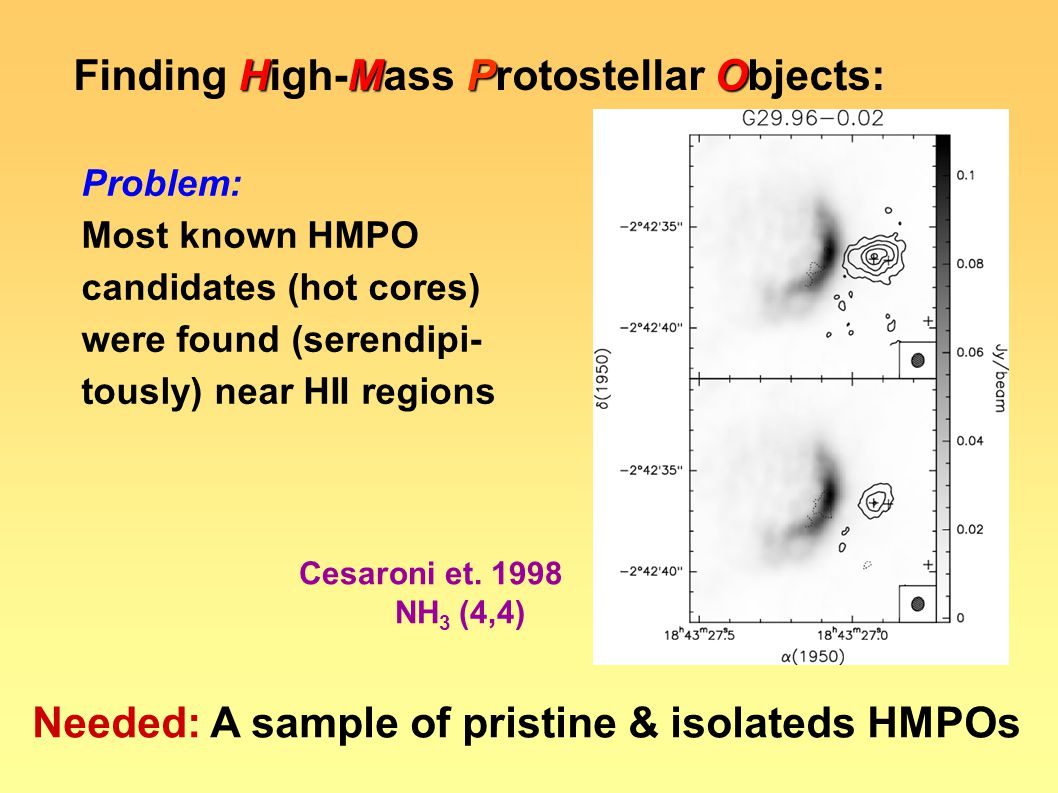 HMPO Finding High-Mass Protostellar Objects: Needed: A sample of pristine & isolateds HMPOs Problem: Most known HMPO candidates (hot cores) were found