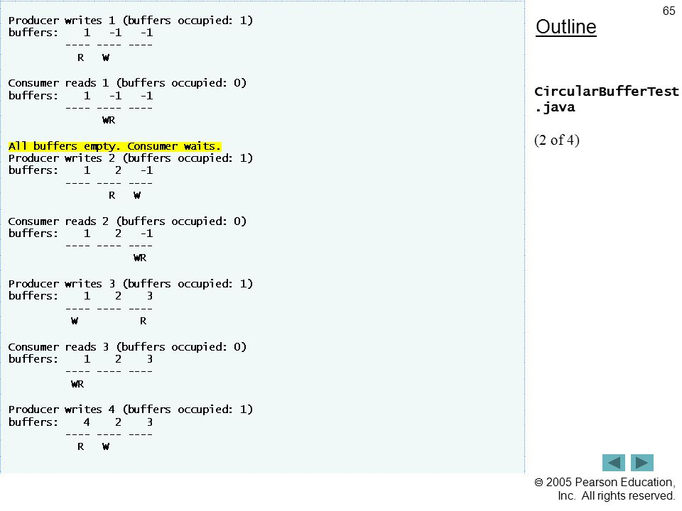  2005 Pearson Education, Inc. All rights reserved. 65 Outline CircularBufferTest.java (2 of 4)