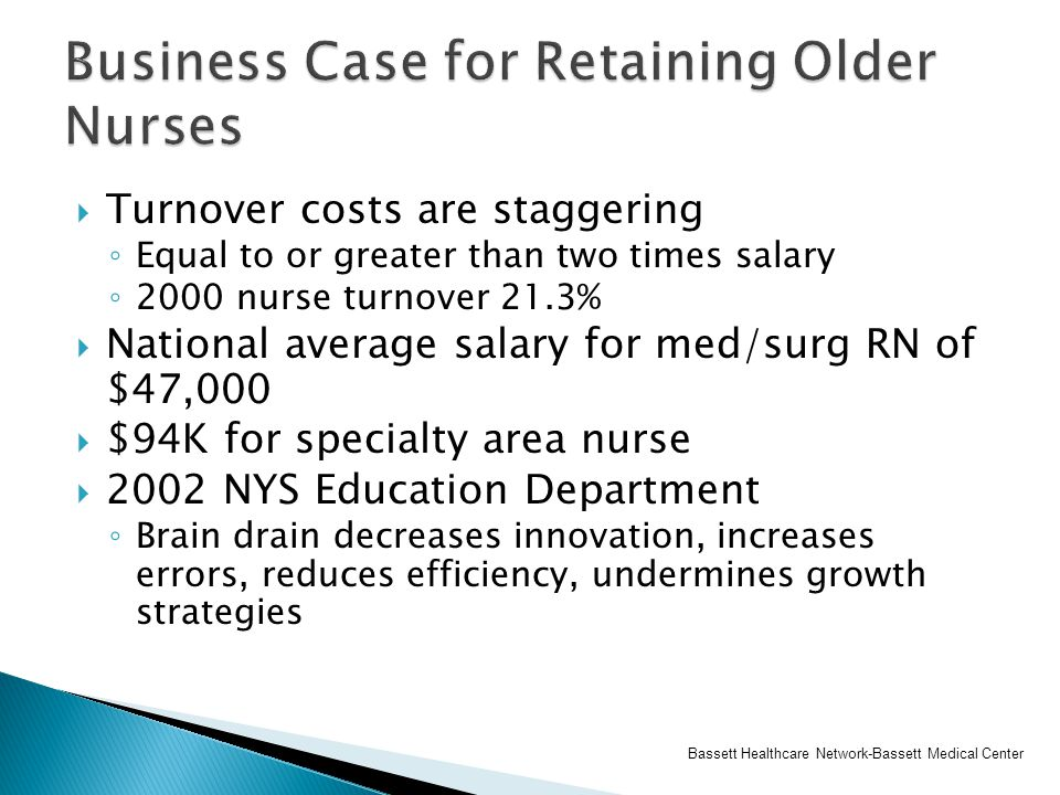  Turnover costs are staggering ◦ Equal to or greater than two times salary ◦ 2000 nurse turnover 21.3%  National average salary for med/surg RN of $47,000  $94K for specialty area nurse  2002 NYS Education Department ◦ Brain drain decreases innovation, increases errors, reduces efficiency, undermines growth strategies Bassett Healthcare Network-Bassett Medical Center