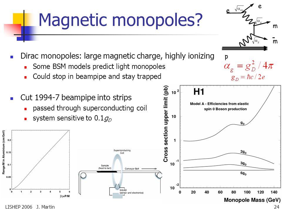 LISHEP 2006 J. Martin24 Magnetic monopoles.