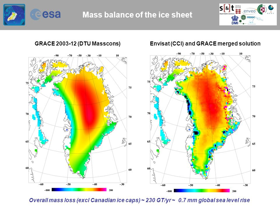 Mass balance of the ice sheet GRACE 2003-12 (DTU Masscons) Envisat (CCI) and GRACE merged solution Overall mass loss (excl Canadian ice caps) ~ 230 GT