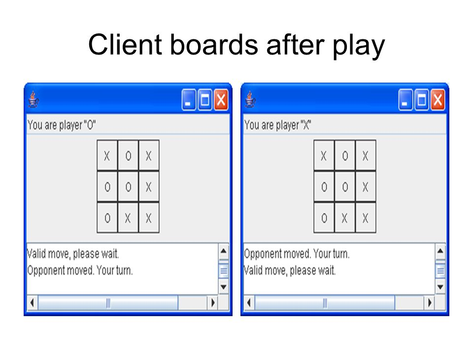 Client boards after play