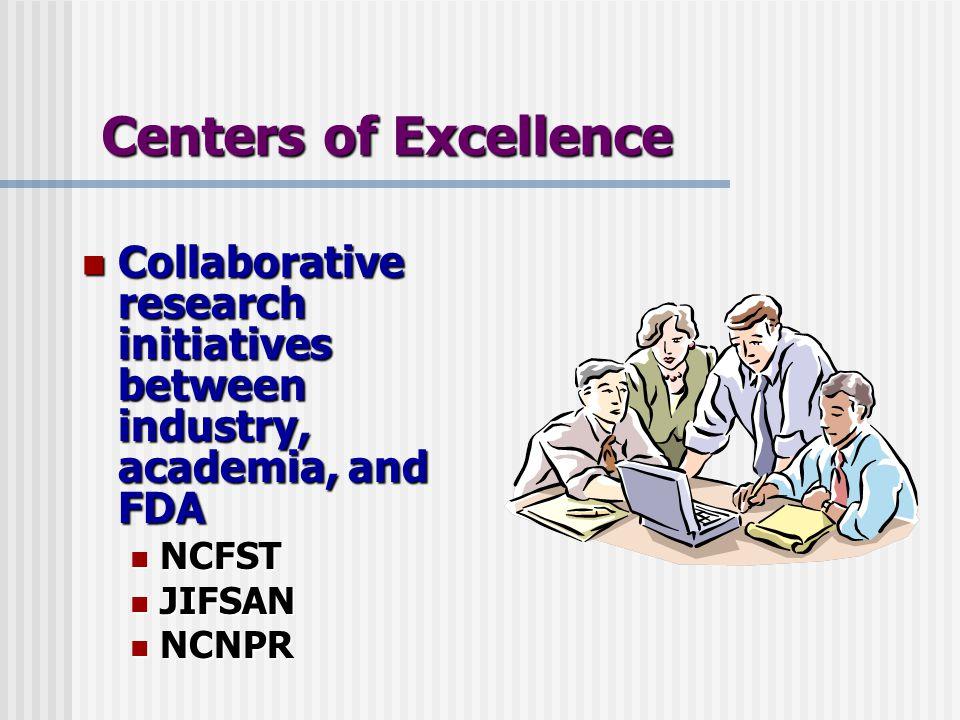 Collaborative research initiatives between industry, academia, and FDA Collaborative research initiatives between industry, academia, and FDA NCFST NCFST JIFSAN JIFSAN NCNPR NCNPR