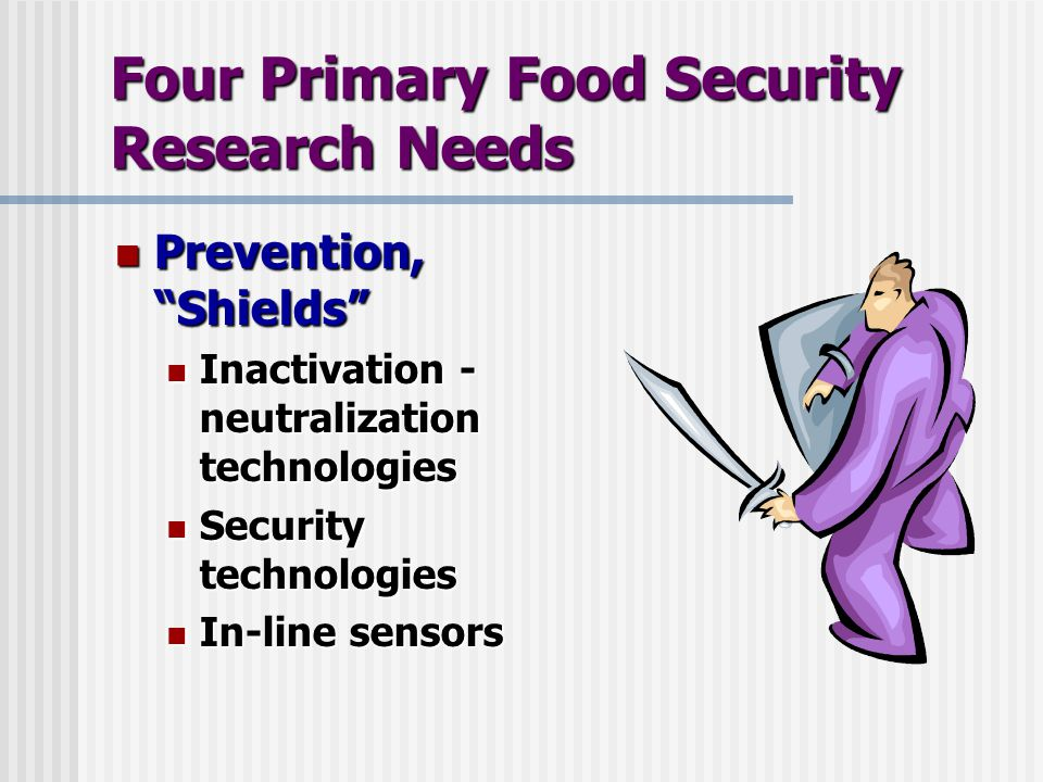 Four Primary Food Security Research Needs Prevention, Shields Prevention, Shields Inactivation - neutralization technologies Inactivation - neutralization technologies Security technologies Security technologies In-line sensors In-line sensors
