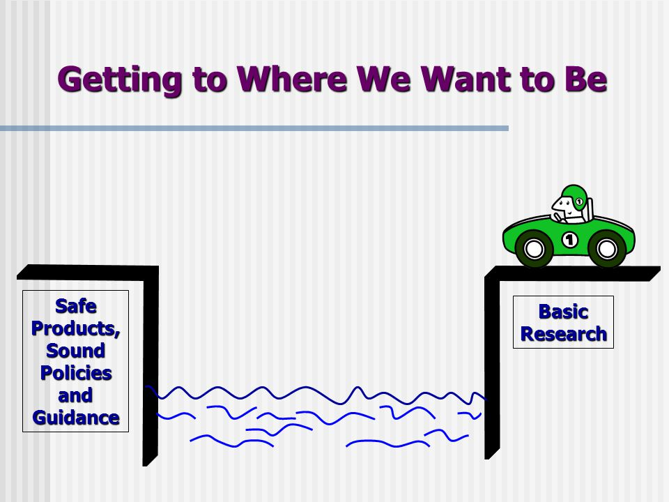 Getting to Where We Want to Be BasicResearch Safe Products, Sound Policies and Guidance