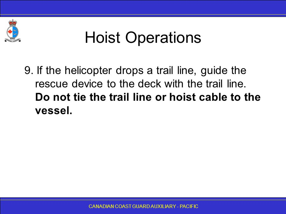 CANADIAN COAST GUARD AUXILIARY - PACIFIC Hoist Operations 9.
