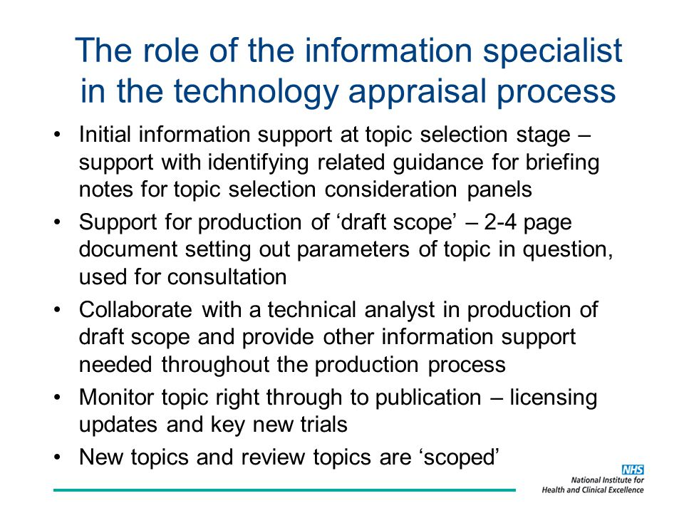 Proposal paper for Guidance Executive (GE) Aims to summarise and collate relevant information found in a report template, which is presented to NICE's senior management team.