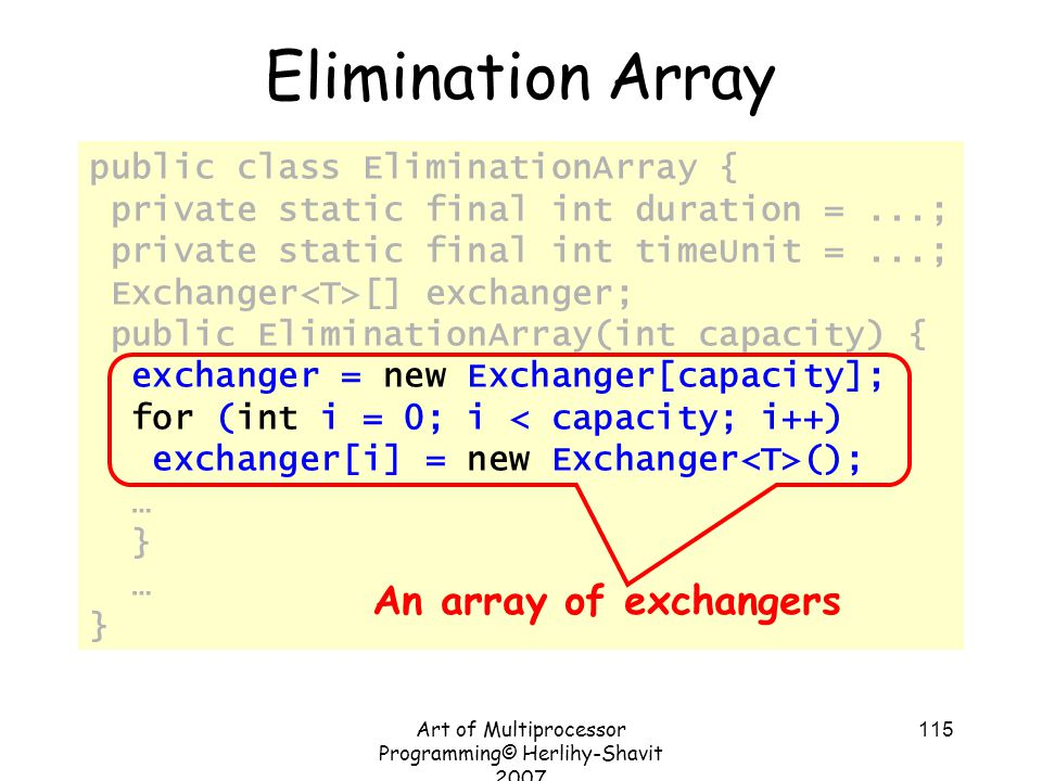 Art of Multiprocessor Programming© Herlihy-Shavit 2007 115 public class EliminationArray { private static final int duration =...; private static final int timeUnit =...; Exchanger [] exchanger; public EliminationArray(int capacity) { exchanger = new Exchanger[capacity]; for (int i = 0; i < capacity; i++) exchanger[i] = new Exchanger (); … } … } Elimination Array An array of exchangers
