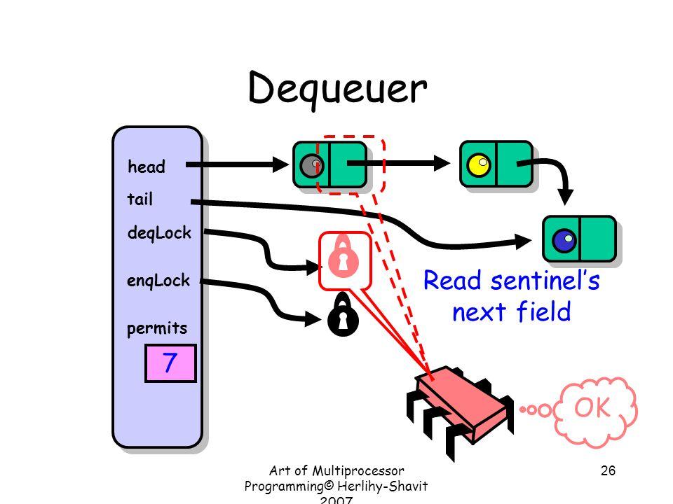 Art of Multiprocessor Programming© Herlihy-Shavit 2007 26 Dequeuer head tail deqLock enqLock permits 7 Read sentinel's next field OK