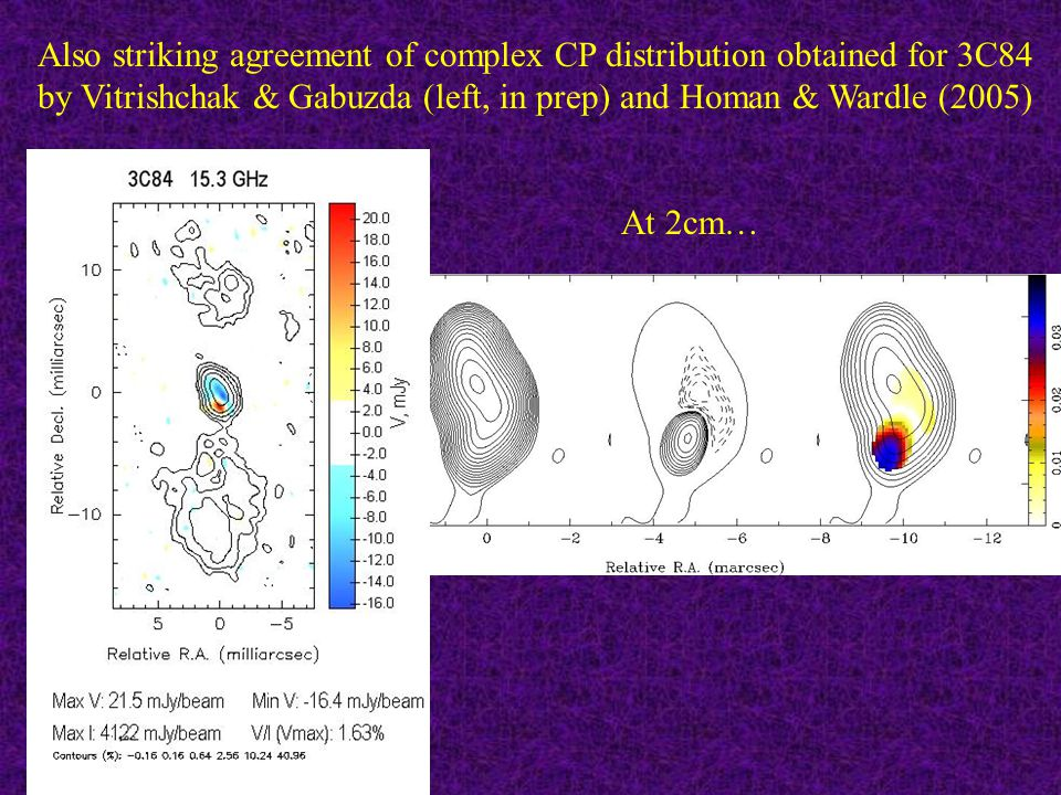 Also striking agreement of complex CP distribution obtained for 3C84 by Vitrishchak & Gabuzda (left, in prep) and Homan & Wardle (2005) At 2cm…