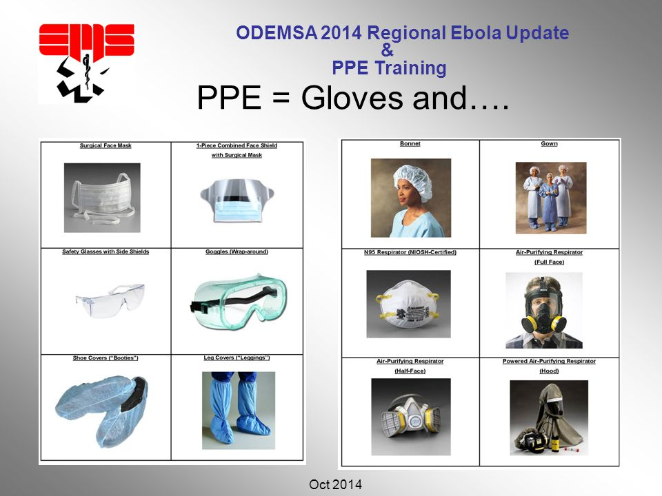 ODEMSA 2014 Regional Ebola Update & PPE Training Oct 2014 31 PPE = Gloves and….