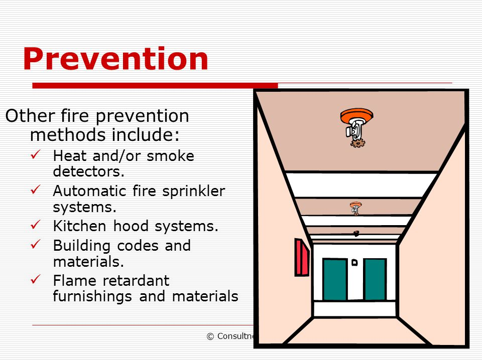 "© Consultnet Ltd Prevention Prevention is based on eliminating or minimizing one of the components of the ""Fire Triangle"""