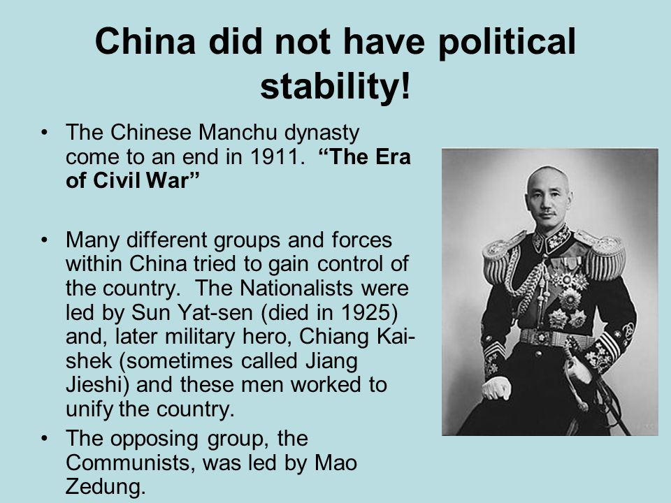 Chiang Kai-shek focused his reforms on the rising Urban Middle Class and sought to make his improvements with their support.