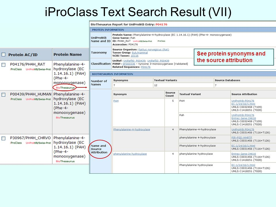 iProClass Text Search Result (VII) See protein synonyms and the source attribution