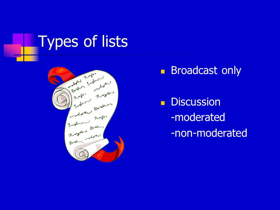 Software-specific lists Illiad-l (for users of Illiad) subscription address: listserv@listserv.vt.edu list address: illiad-l@listserv.vt.edu web address: http://listserv.vt.edu/cgi-bin/wa?A0=illiad-l