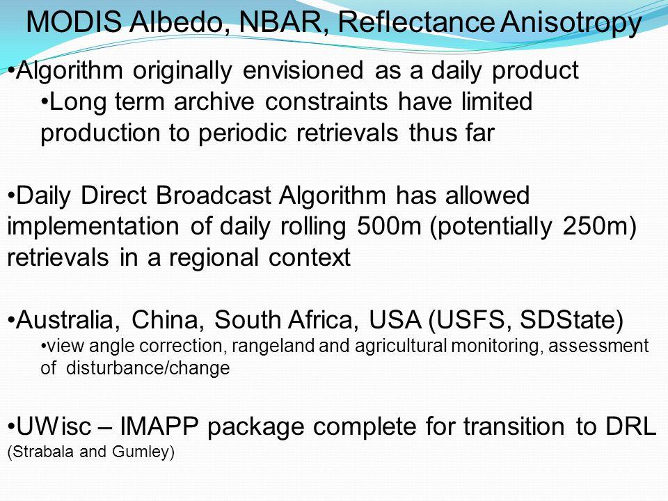 Albedo, NBAR, Reflectance Anisotropy Satellite Product Intercomparisons MODIS with: MISR POLDER/Parasol Meteosat SEVIRI (MSG) SPOT VGT MERIS/GLOBALBEDO CERES CEOS/WGCV/LPV subgroup on Albedo http://lpvs.gsfc.nasa.gov/ (Nightingale)http://lpvs.gsfc.nasa.gov/ Current Albedo Chairs: Gabriela Schaepman,Crystal Schaaf Workshops: Boston 2002, Vienna EGU 2005, Beijing 2009