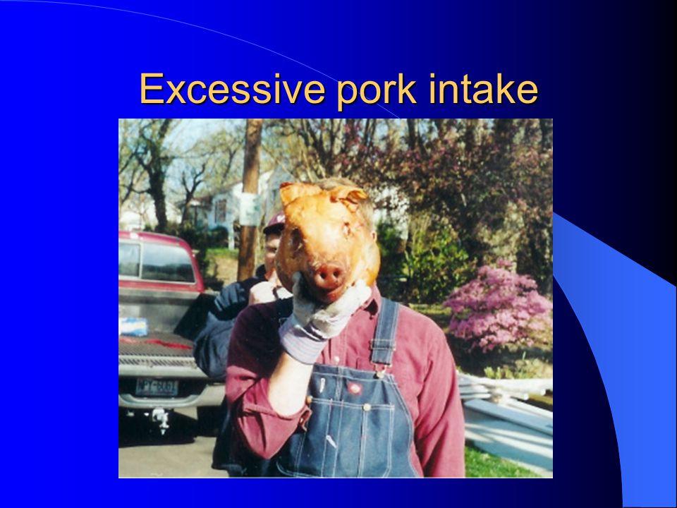 Excessive pork intake