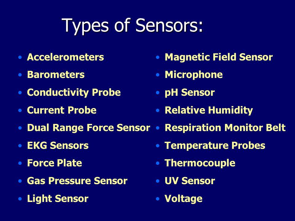 Types of Sensors: Accelerometers Barometers Conductivity Probe Current Probe Dual Range Force Sensor EKG Sensors Force Plate Gas Pressure Sensor Light Sensor Magnetic Field Sensor Microphone pH Sensor Relative Humidity Respiration Monitor Belt Temperature Probes Thermocouple UV Sensor Voltage