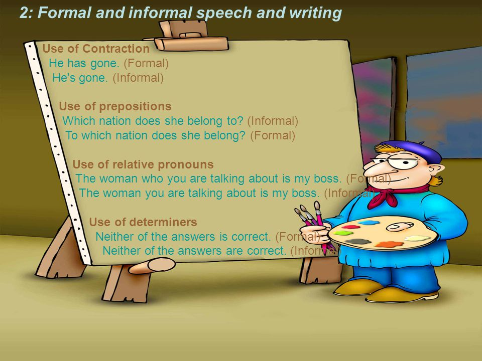 2: Formal and informal speech and writing Use of Contraction He has gone.