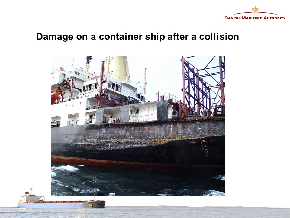 Damage on a container ship after a collision
