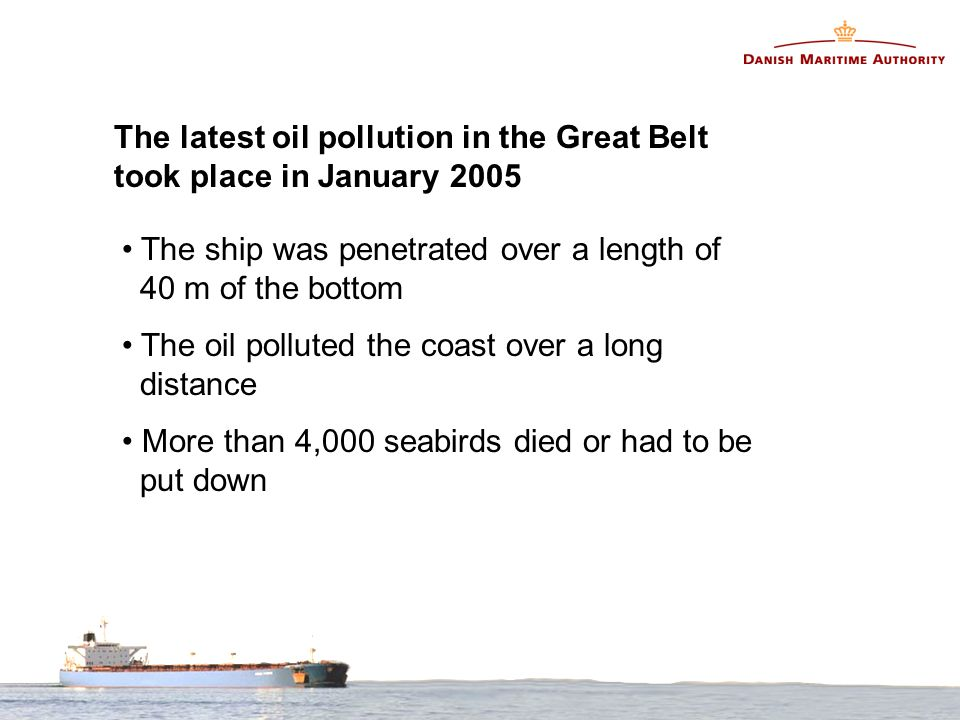 The ship was penetrated over a length of 40 m of the bottom The oil polluted the coast over a long distance More than 4,000 seabirds died or had to be put down The latest oil pollution in the Great Belt took place in January 2005