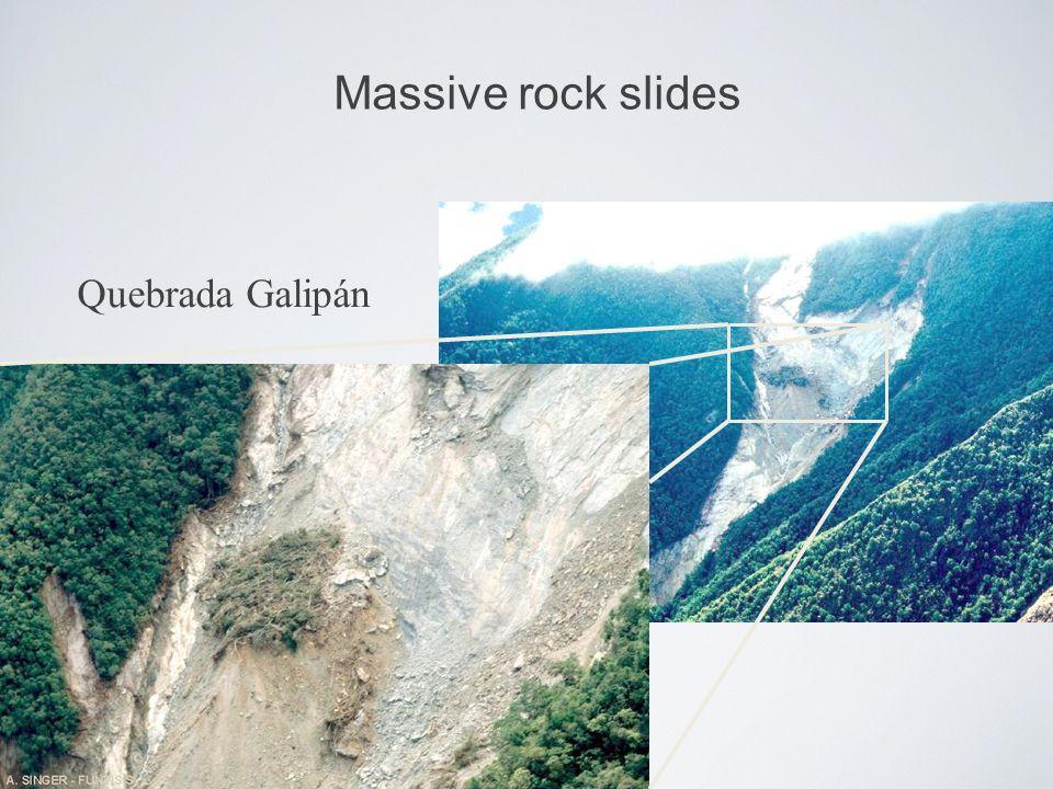 Massive rock slides Quebrada Galipán
