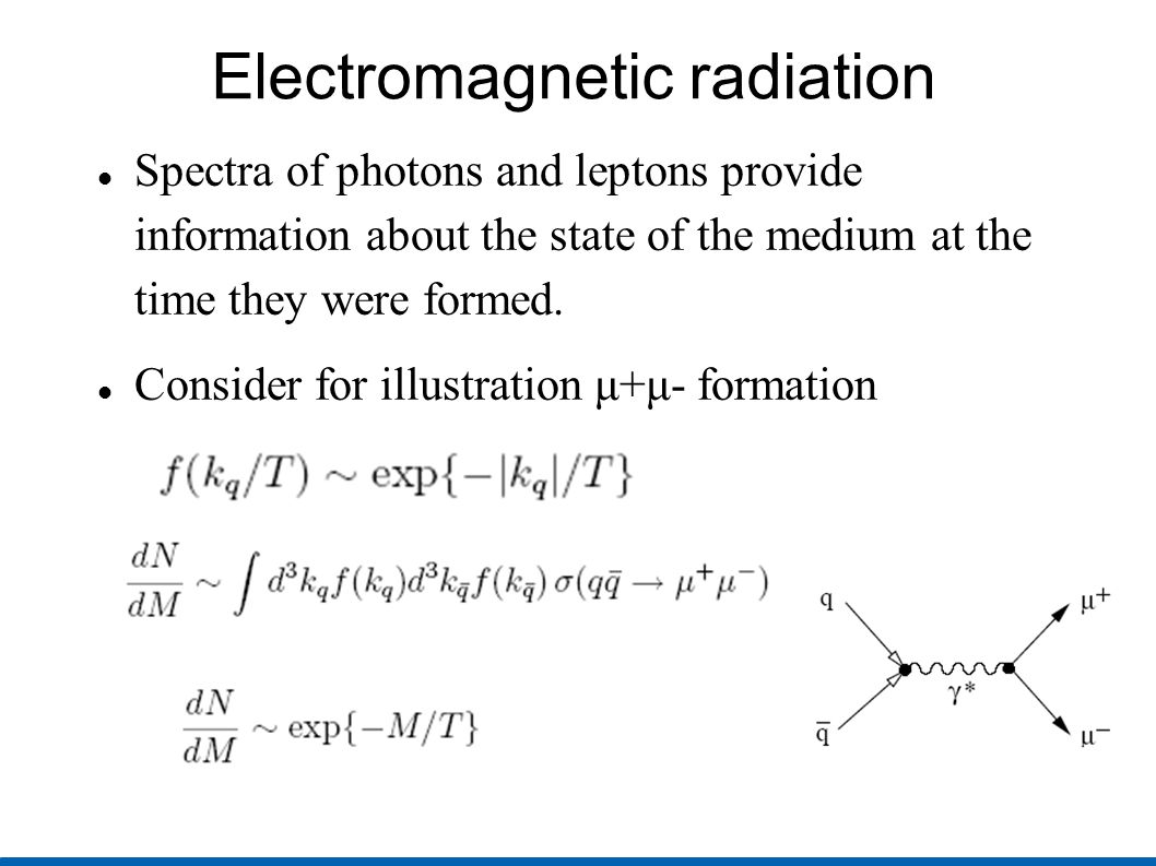 Electromagnetic radiation Spectra of photons and leptons provide information about the state of the medium at the time they were formed.