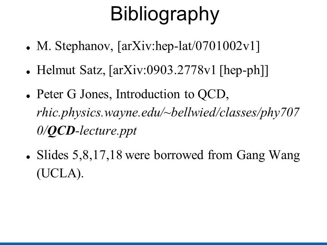 Bibliography M. Stephanov, [arXiv:hep-lat/0701002v1] Helmut Satz, [arXiv:0903.2778v1 [hep-ph]] Peter G Jones, Introduction to QCD, rhic.physics.wayne.
