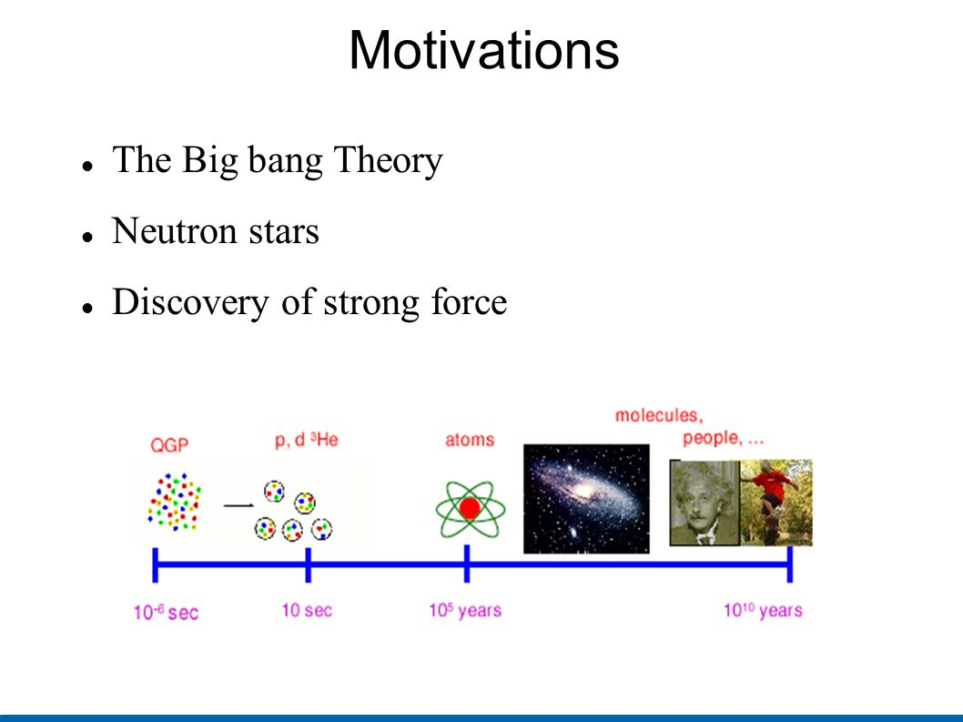 Motivations The Big bang Theory Neutron stars Discovery of strong force