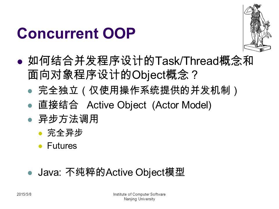 2015/5/8Institute of Computer Software Nanjing University Concurrent OOP 如何结合并发程序设计的 Task/Thread 概念和 面向对象程序设计的 Object 概念? 完全独立(仅使用操作系统提供的并发机制) 直接结合 Active Object (Actor Model) 异步方法调用 完全异步 Futures Java: 不纯粹的 Active Object 模型