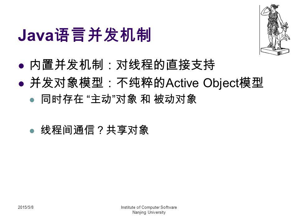 2015/5/8Institute of Computer Software Nanjing University Java 语言并发机制 内置并发机制:对线程的直接支持 并发对象模型:不纯粹的 Active Object 模型 同时存在 主动 对象 和 被动对象 线程间通信?共享对象