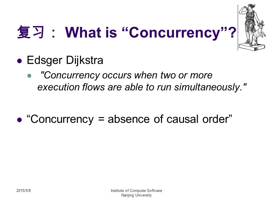 2015/5/8Institute of Computer Software Nanjing University 复习: What is Concurrency .