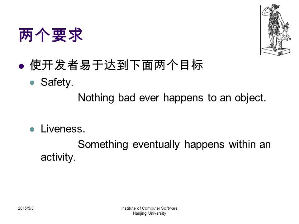 2015/5/8Institute of Computer Software Nanjing University 两个要求 使开发者易于达到下面两个目标 Safety.