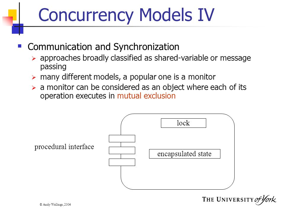 © Andy Wellings, 2004 Concurrency Models IV  Communication and Synchronization  approaches broadly classified as shared-variable or message passing  many different models, a popular one is a monitor  a monitor can be considered as an object where each of its operation executes in mutual exclusion encapsulated state procedural interface lock